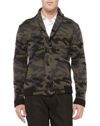 Valentino Camo Shaw-collar Sweater - Lyst