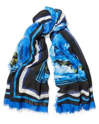 Balmain - Floral-print Modal And Cashmere-blend Scarf - Lyst
