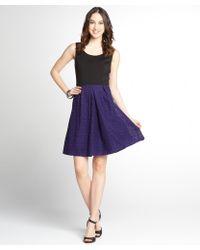 Tahari Violet And Black Stretch Knit Colorblock Sleeveless Dress - Lyst