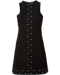 Saint Laurent Studded A-Line Mini Dress - Lyst