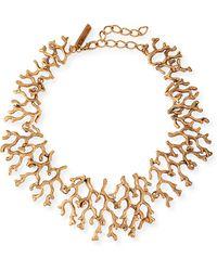 Oscar de la Renta Golden Coral Branch Necklace - Lyst