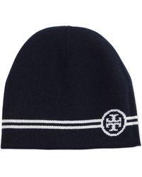 Tory Burch Reversible Wool Beanie Hat - Black