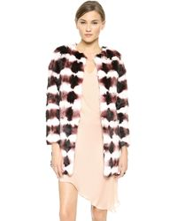 Haute Hippie Rabbit Fur Multi Jacket  Merlotbuff - Lyst
