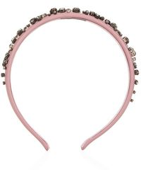 RED Valentino Embellished Leather Headband - Lyst