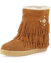 Tory Burch Collins Shearlinglined Fringe Bootie - Lyst