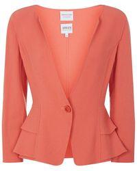 Armani Wool Crepe Ruffle Jacket - Lyst