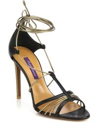 Ralph Lauren Collection Blaine Leather & Metallic Leather Ankle-Tie Sandals - Lyst