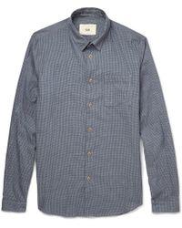 Folk Herringbone Checked Fine-Cotton Shirt - Lyst