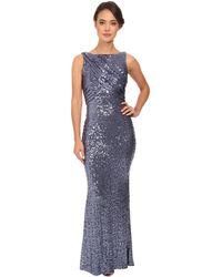 Badgley Mischka Stretch Sequin Drape Top Gown - Lyst