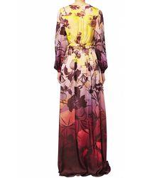 Matthew Williamson Hibiscus Silk Chiffon Long Sleeve Gown - Lyst
