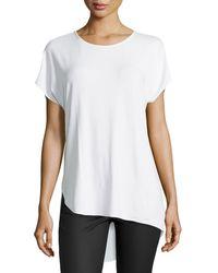 Halston Heritage Short-Sleeve Asymmetric-Hem Tee - Lyst