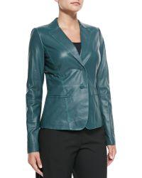 Lafayette 148 New York Lambskin Leather Two-Button Jacket - Lyst
