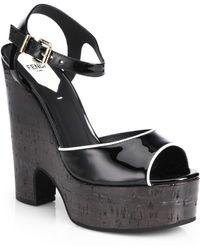Fendi Colorblock Patent Leather Cork Wedge Sandals - Lyst