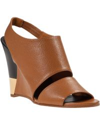 Chloé Estel Wedge Sandal Tan Leather brown - Lyst