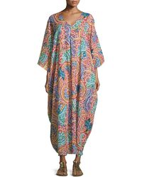 Neiman Marcus - Printed V-neck Caftan - Lyst