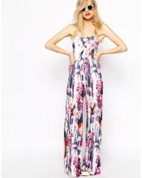 Asos Bandeau Jumpsuit in Blurred Floral Print - Lyst