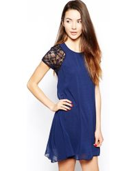 TFNC Swing Dress With Lace Sleeves - Lyst