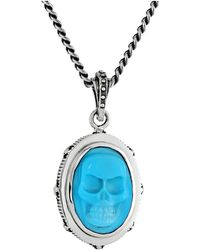 King Baby Studio Oval Bezel Pendant Necklace W Carved Turquoise Skull - Lyst
