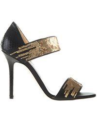 Jimmy Choo Gold Tallow Sandals - Lyst