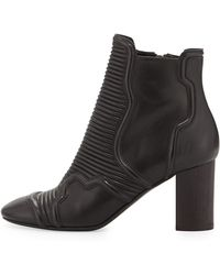 Balmain Ribbed Leather Biker Low Boot - Lyst