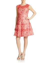 Kay Unger Bonded Lace Fit And Flare Dress - Lyst