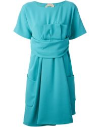 N°21 Pleated Detail Belted Dress - Lyst