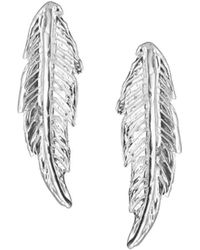 Leivan Kash Silver Feather Earrings - Lyst