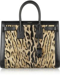 Saint Laurent Sac De Jour Small Leopard-Print Calf Hair And Leather Tote - Lyst