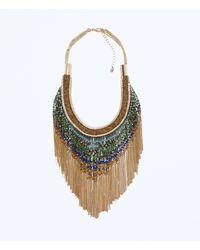 Zara Gold Fringe Necklace - Lyst