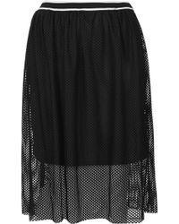 Topshop Womens Airtex Midi Skirt Black - Lyst