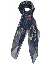 Alexander McQueen Swallow And Cherry Blossom-Print Silk Scarf - Lyst