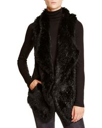 C By Bloomingdale's - Cashmere Vest With Rabbit Fur Front - Lyst