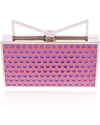 Sara Battaglia Peach and Violet Perforated Lady Me Clutch - Lyst