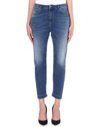 Diesel Eazee Highrise Boyfriend Jeans Washed Blue - Lyst
