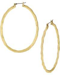 Robert Lee Morris Soho Goldtone Hammered Hoop Earrings - Lyst
