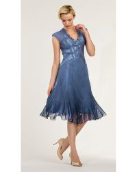 Komarov Chiffon Dress With Beaded Neck - Lyst