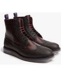 Ted Baker Stacked Sole Leather Ankle Boots - Red