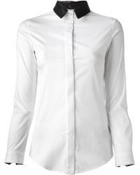 Burberry Leather Collar Shirt - Lyst