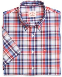 Brooks Brothers Red and Blue Plaid Short-sleeve Sport Shirt - Lyst