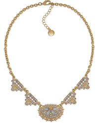 Carolee 12k Goldplated Glass Pearl and Crystal Geometric Frontal Necklace - Lyst