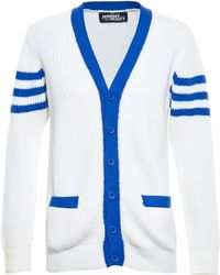 Jeremy Scott Wool Knit Baseball Cardigan - Lyst