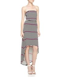 Laundry by Shelli Segal Strapless Mixed-stripe High-low Maxi Dress - Lyst