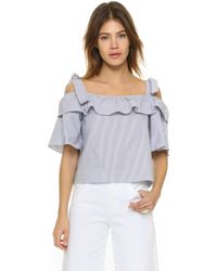 Shakuhachi | Bow Frill Off Shoulder Top | Lyst