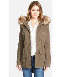 Caslon Hooded Utility Coat With Removable Faux Fur Trim - Green
