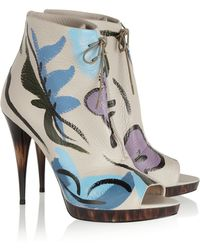 Burberry Prorsum - Painted Textured-Leather Ankle Boots - Lyst