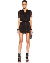 McQ by Alexander McQueen Shirred Silk Chiffon Zip Dress - Lyst