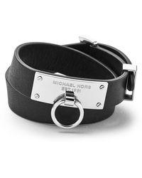Michael Kors Leather Wrap Bracelet Black - Lyst