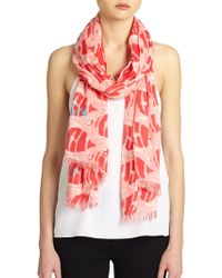 Kate Spade Striped Fish Scarf - Lyst