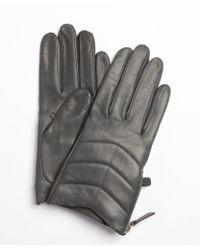 Portolano Iron Grey Leather Zipper Detail Nappa Gloves - Lyst