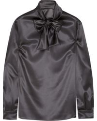 Dolce & Gabbana Pussybow Stretchsilk Satin Blouse - Lyst